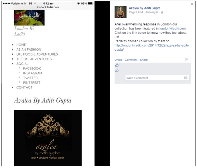 Mention By Fashion Designer Aditi Gupta