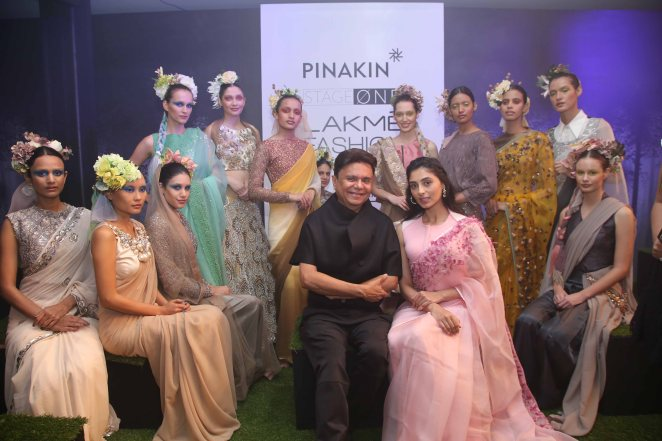 Pinakin with models on Day 1 at LFW SR 2016