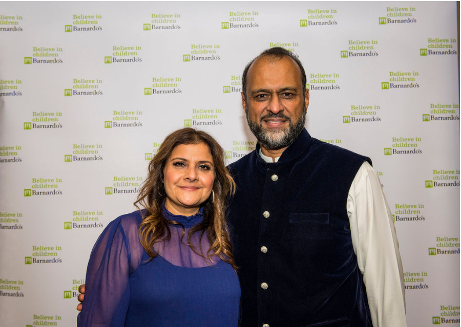 Barnardo's Diwali Dinner - celebrity ambassador Nina Wadia and CEO Javed Khan